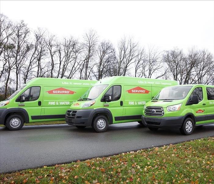 Three green SERVPRO vans line up ready to depart
