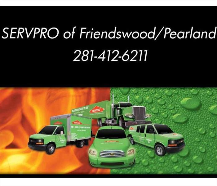 Fleet of green Servpro branded vehicles