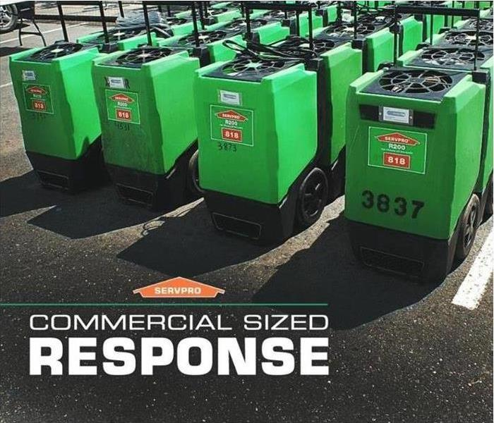 Line up green Servpro branded dehumidifiers in the parking lot.